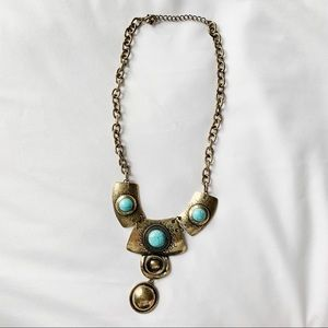Statement Necklace with Turquoise Detail